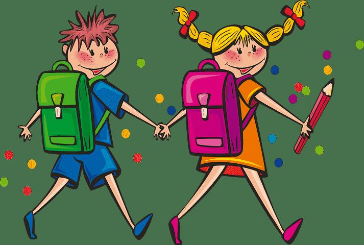 通学する男の子と女の子