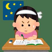 夜に勉強する女の子